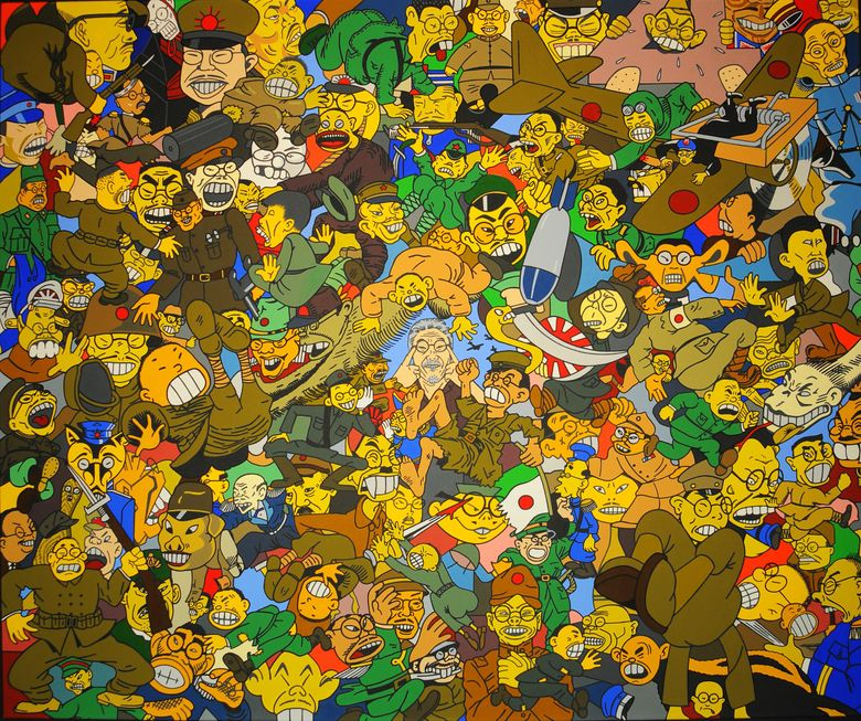"""In """"Yellow Terror,"""" (2008) by Roger Shimomura, the artist is barely visible in the middle of a collage of perhaps a hundred """"enemy Japanese"""" caricatures. (Roger Shimomura)"""