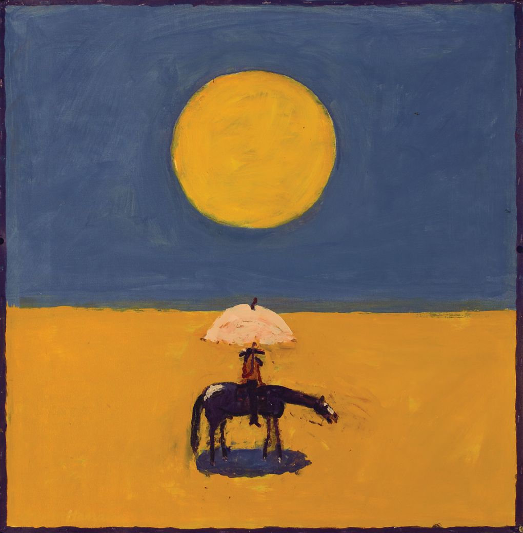 """""""Kernal on Horseback under Sun,"""" is by 93-year-old Washington painter Gaylen Hansen. His work will be shown at Seattle Art Fair by Seattle gallery owner Linda Hodges."""