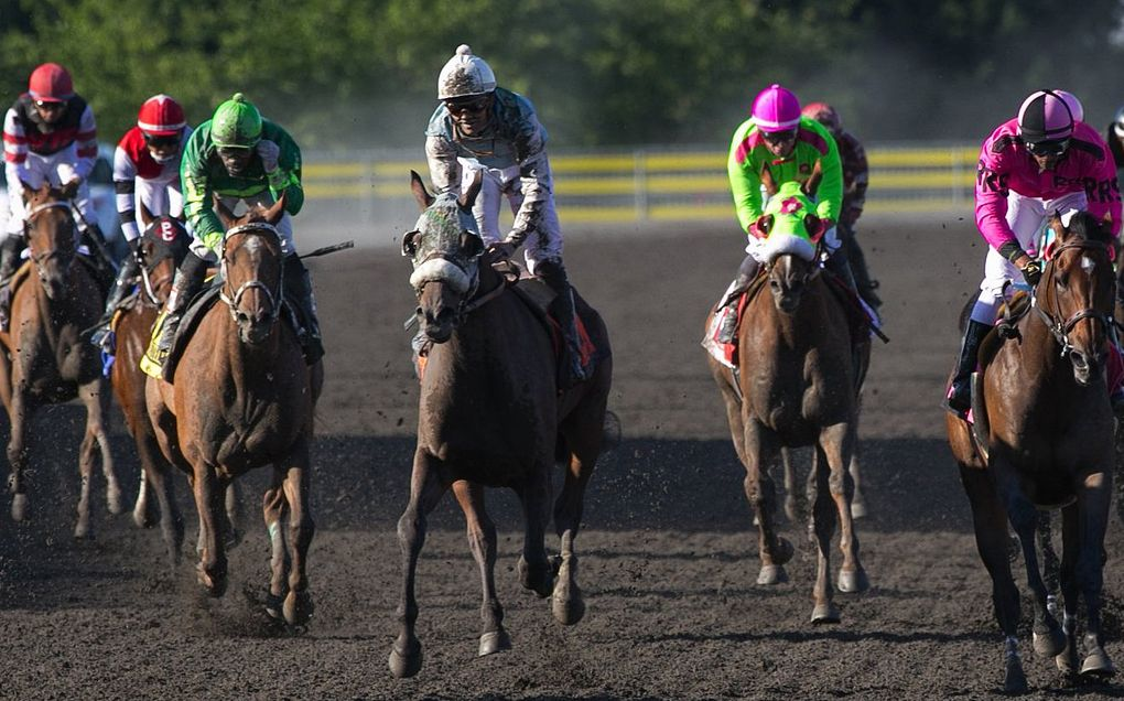 Leslie Mawing, center, rides Stryker Phd to victory in the Longacres Mile at Emerald Downs on Aug. 16, 2015. (Ellen M. Banner / The Seattle Times)