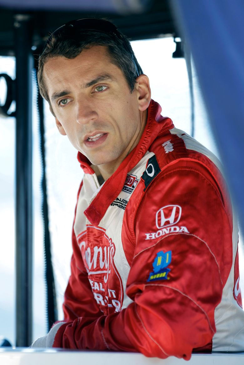 IndyCar Series driver Justin Wilson, pictured in 2012, has died from a head injury suffered during a race Sunday. (Charlie Neibergall/AP)