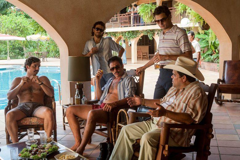 "Netflix has released the first season of ""Narcos,"" an original series about drug kingpin Pablo Escobar and the rise of the cartels. The crime saga stars Wagner Moura, left, Juan Riedinger, Juan Pablo Raba, Roberto Urbino and Luis Guzman.  (Daniel Daza)"