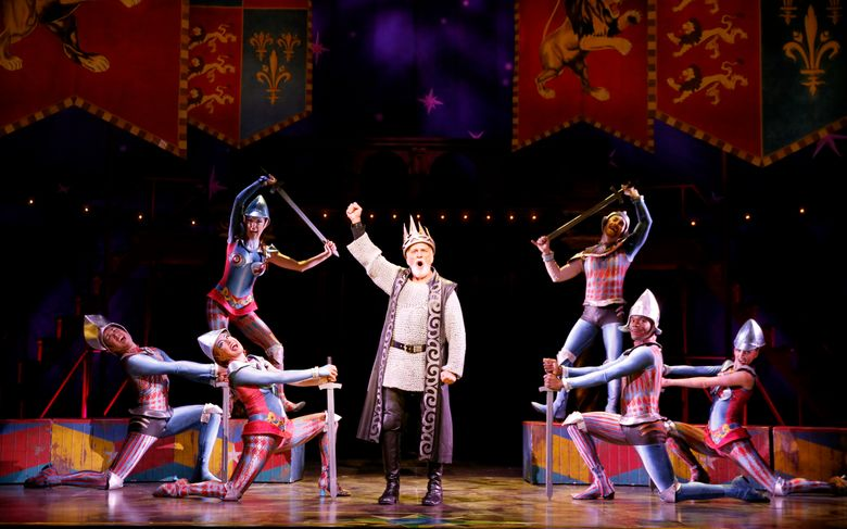 """John Rubinstein, center, and other members of the cast of """"Pippin."""" The Tony Award-winning touring musical will be at The Paramount Theatre in Seattle from Aug. 16-23.  (Joan Marcus)"""