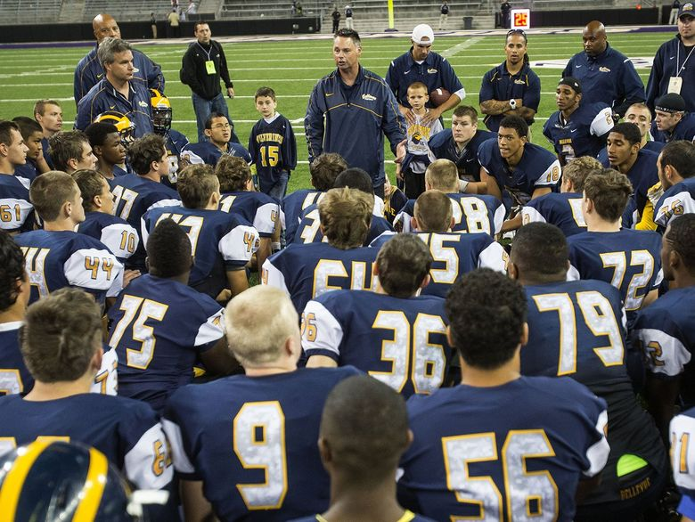 Bellevue coach Butch Goncharoff, who has led the Wolverines to 11 state titles since 2001, was suspended in June by the KingCo Conference for two games, in part for providing money to a player's family. (Dean Rutz / The Seattle Times)