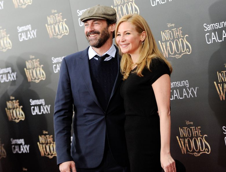 """FILE – In this Monday, Dec. 8, 2014, file photo, actors Jon Hamm and Jennifer Westfeldt attend the premiere of """"Into The Woods,"""" at the Ziegfeld Theatre in New York. Hamm and Westfeldt released a statement Monday, Sept. 7, 2015, through publicist Annett Wolf that """"with great sadness"""" they were separating after 18 years. (Photo by Evan Agostini/Invision/AP, File)"""