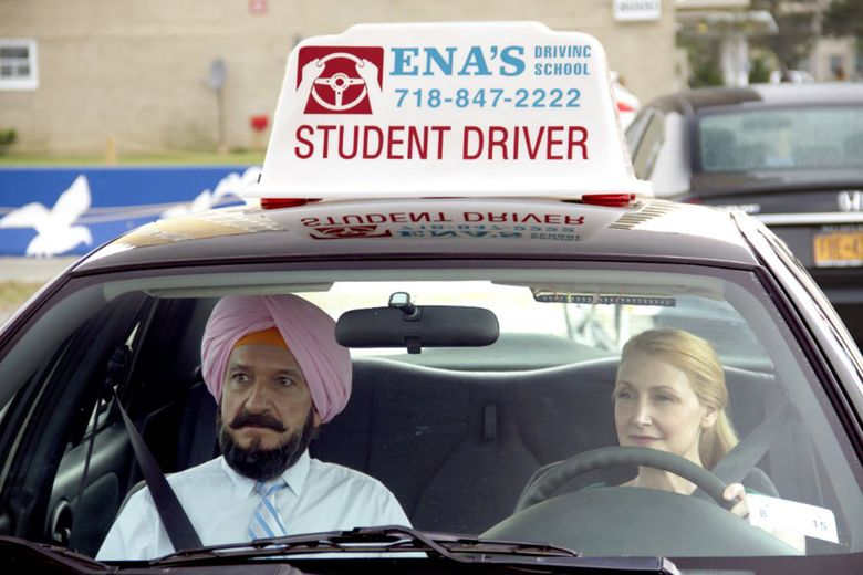 """A woman whose husband has left her (Patricia Clarkson) and a man preparing for an arranged marriage (Ben Kingsley) find friendship behind the wheel in """"Learning to Drive.""""  (Broad Green Pictures/TNS)"""