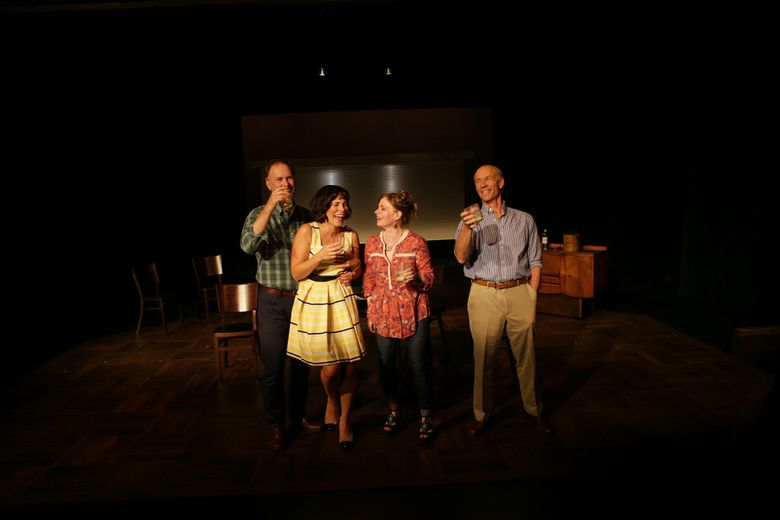 """Andrew DeRycke, left, Tracey Hyland, Carol Roscoe and Kevin McKeon in """"What We Talk About When We Talk About Love."""""""