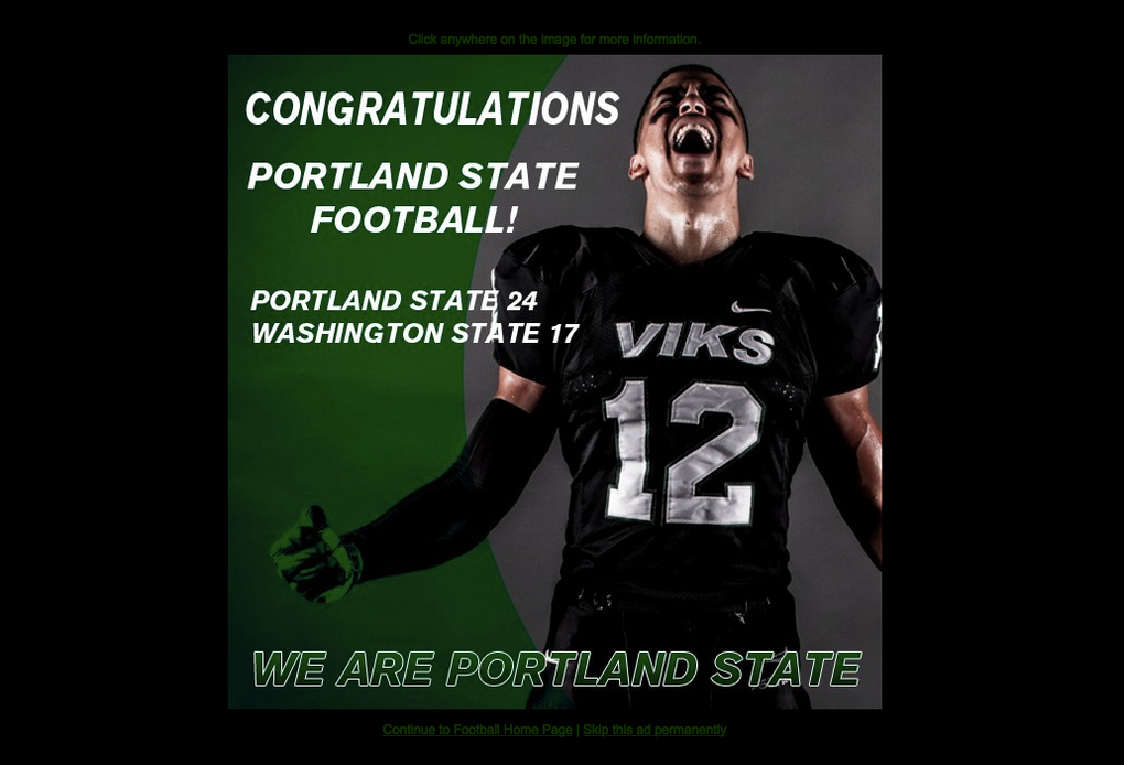 The front of the PSU Vikings' website after their big win over WSU. (Stefanie Loh / The Seattle Times)