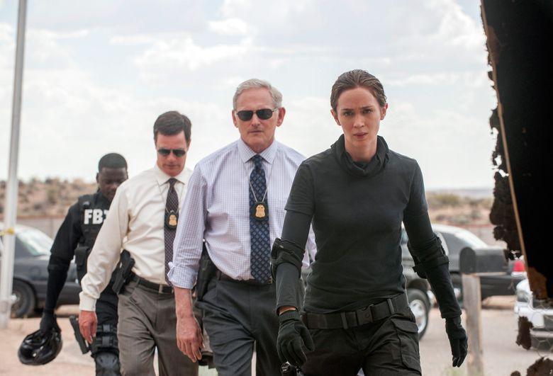 "From rear left, Daniel Kaluuya, Phil Cooper, Victor Garber and Emily Blunt star in the thriller ""Sicario."" (Richard Foreman, Jr.  SMPSP/AP)"