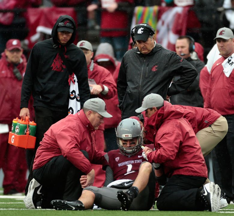 PULLMAN, WA – SEPTEMBER 05: Quarterback Luke Falk #4 of the Washington State Cougars is injured during the fourth quarter against the Portland State Vikings at Martin Stadium on September 5, 2015 in Pullman, Washington. Portland State defeated Washington State 24-17. (Photo by William Mancebo/Getty Images) — 566220125 (William Mancebo/Getty Images)