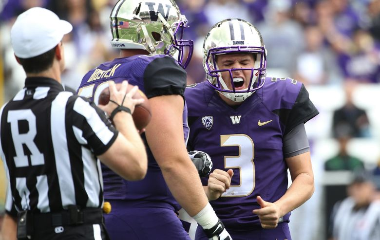 UW quarterback Jake Browning yells in frustration after being sacked against California. (Lindsey Wasson/The Seattle Times)