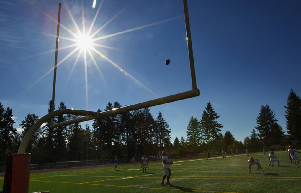 Seahawks player Jermain Kearse played his first football on the practice field at Lakes High School in Lakewood, WA . Photo to go with a story  about the first fields that some of the Seahawks played football on.  (Ellen M. Banner / The Seattle Times)