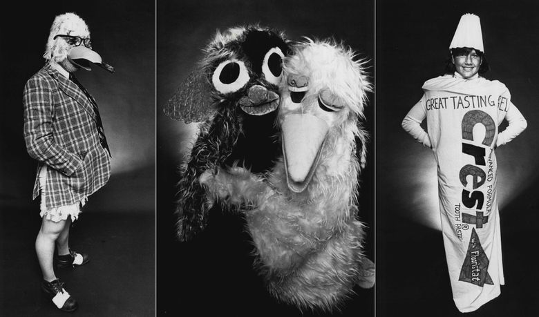 """LEFT: Roy Brewer as Uncle Cosmo Fishhawk from the comic strip """"Shoe."""" MIDDLE: Donna August in a Big Bird suit and her daughter Nicole in a gremlin outfit. RIGHT: Carrie Reed MacKay, right, made her authentically worded toothpaste tube costume from a bed sheet. These photos ran with a Halloween costume contest in 1985. (Greg Gilbert / The Seattle Times)"""