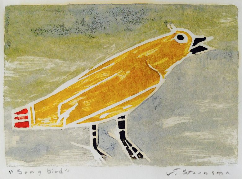 "The block print ""Songbird"" is part of the Jay Steensma (1941-1994) exhibition at Sisko Gallery through Nov. 22."