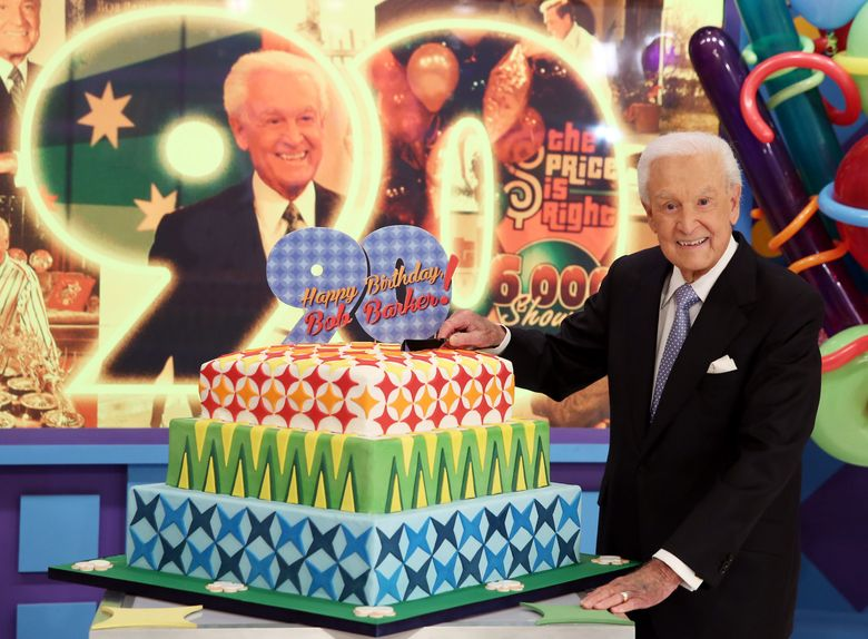 """FILE – In this Nov. 5, 2013 file photo, Bob Barker poses for a photo on the set of """"The Price is Right"""" after a special appearance that will celebrate his 90th birthday at CBS Studios, in Los Angeles. Barker is resting at home after taking a fall on a Los Angeles street on Tuesday morning, Oct. 20, 2015. Barker's longtime friend and publicist, Henri Bollinger, said the former """"The Price is Right"""" host suffered a cut to his head that required stitches, and a scraped leg. (Photo by Matt Sayles/Invision/AP, File)"""
