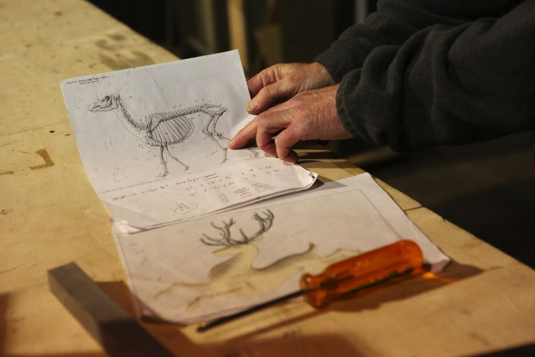 Jon Hackett, electrician for Pacific Northwest Ballet, made the working reindeer for the new Nutcracker based on the set designer's drawing at bottom, as well as anatomical reference material, at top. (Ken Lambert / The Seattle Times)