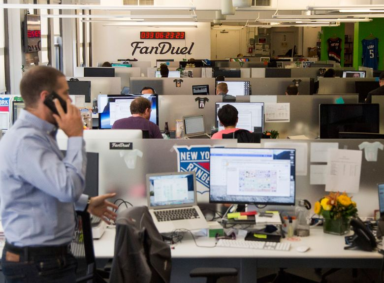 The offices of FanDuel, a leading daily fantasy sports operator, in New York. (MICHAEL NAGLE/NYT)