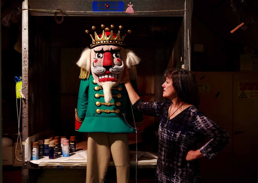 Wendy Oberlin, who works on dyeing and painting in PNB's costume shop, fabricated a nutcracker costume that can be put on and taken off quickly. The costume, based on Ian Falconer's designs, provides a hint of the bright colors you'll find in the production.  (Erika Schultz/The Seattle Times)
