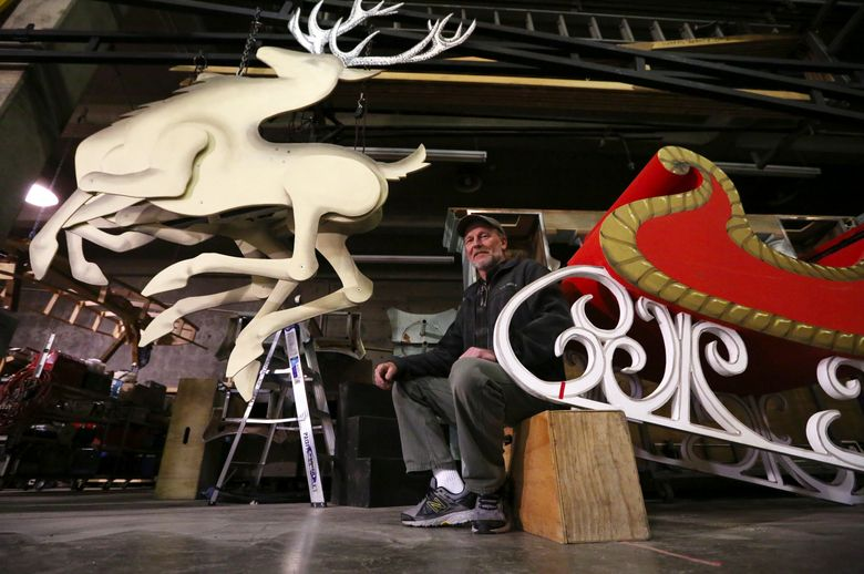 PNB production electrician Jon Hackett used a 12-volt motor to make Santa's reindeer fly. (Ken Lambert/The Seattle Times)