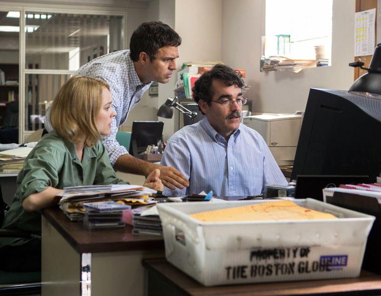 "Rachel McAdams, Mark Ruffalo and Brian d'Arcy James portray journalists in ""Spotlight.""  (Kerry Hayes/AP)"