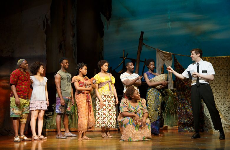"""The hit musical """"The Book of Mormon,"""" about two Mormon missionaries sent to a village in Uganda, will be at the Paramount Dec. 29-Jan. 10, 2016."""