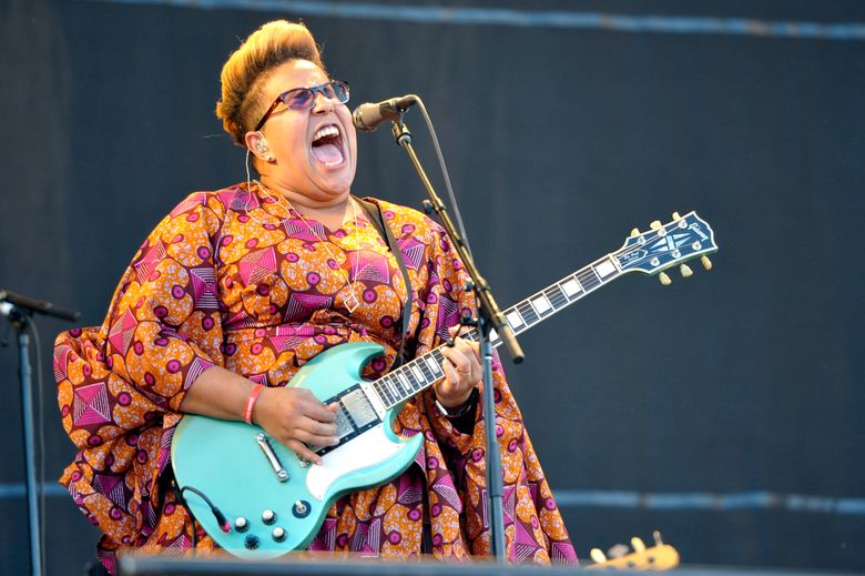 """FILE – In this July 31, 2015 file photo, Brittany Howard of Alabama Shakes performs at Lollapalooza in Chicago.  Alabama Shakes released their second album, """"Sound & Color,"""" in April. (Photo by Rob Grabowski/Invision/AP, File)"""