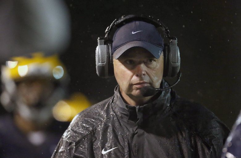 Bellevue High School football coach Butch Goncharoff denied that his team violated recruiting rules. He said that the coaches know the rules and players who transfer in are vetted by the Bellevue School District.  (Sy Bean / The Seattle Times)