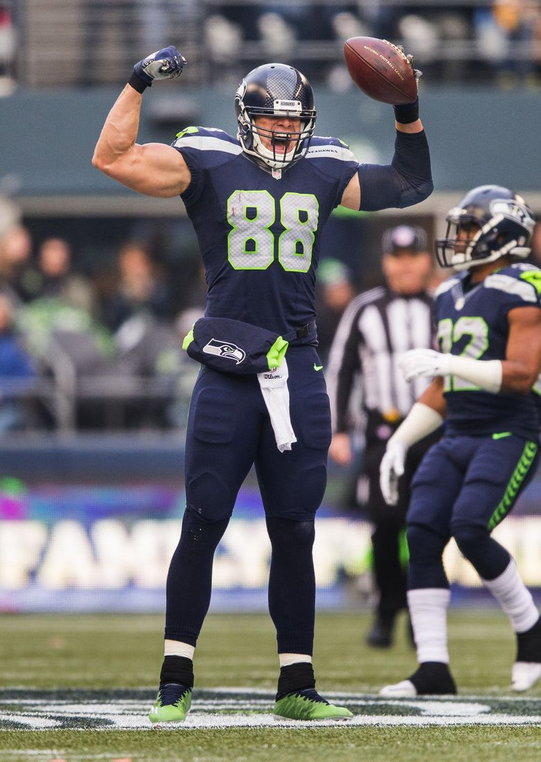 Seahawks tight end Jimmy Graham celebrates after pulling in a first-down catch against the Steelers on Sunday at CenturyLink Field. (Dean Rutz/The Seattle Times)