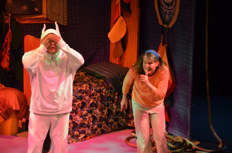 """Raes Calvert, left, and Linda A. Carson in the Presentation House Theatre's production of """"Where the Wild Things Are."""""""