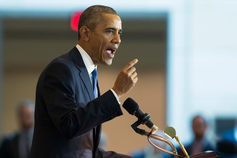 President Barack Obama speaks in Emancipation Hall on Capitol Hill in Washington, Wednesday, Dec. 9, 2015, during an event to celebrate the 150th anniversary of the 13th amendment that abolished slavery. (AP Photo/Evan Vucci)