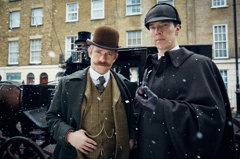 """""""Sherlock: The Abominable Bride"""" features Martin Freeman as John Watson and Benedict Cumberbatch as Sherlock Holmes. (Robert Viglasky / Hartswood Films and BBC Wales for BBC One and Masterpiece)"""