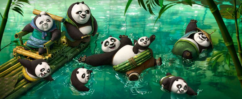 Po (voiced by Jack Black) frolicking in the panda village's hot spring in DreamWorks Animation's KUNG FU PANDA 3.