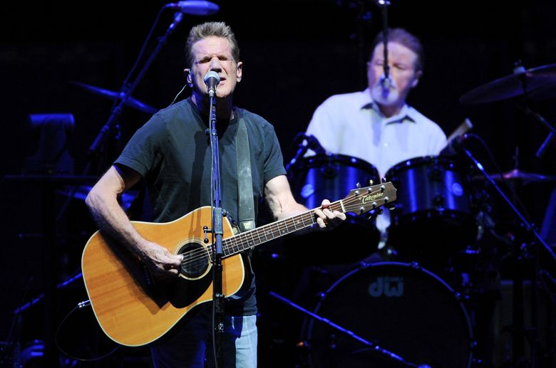 """FILE – In this Nov. 8, 2013, file photo, musicians Glenn Frey, left, and Don Henley, of the Eagles, perform at Madison Square Garden in New York. Frey, who co-founded the Eagles and with Henley became one of history's most successful songwriting teams with such hits as """"Hotel California"""" and """"Life in the Fast Lane,"""" has died at age 67. He died Monday, Jan. 18, 2016, in New York. (Photo by Evan Agostini/Invision/AP, File)"""