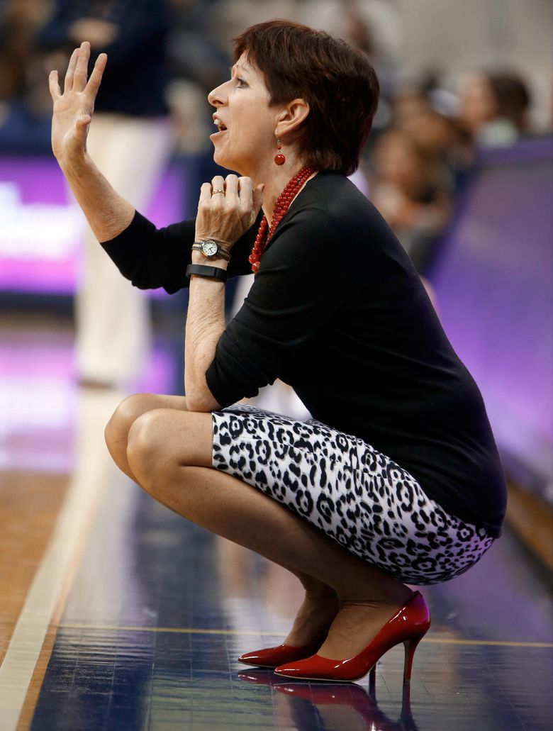 Notre Dame women's coach Muffet McGraw signals to players during Sunday's 65-55 victory at Pittsburgh. (Keith Srakocic/AP)