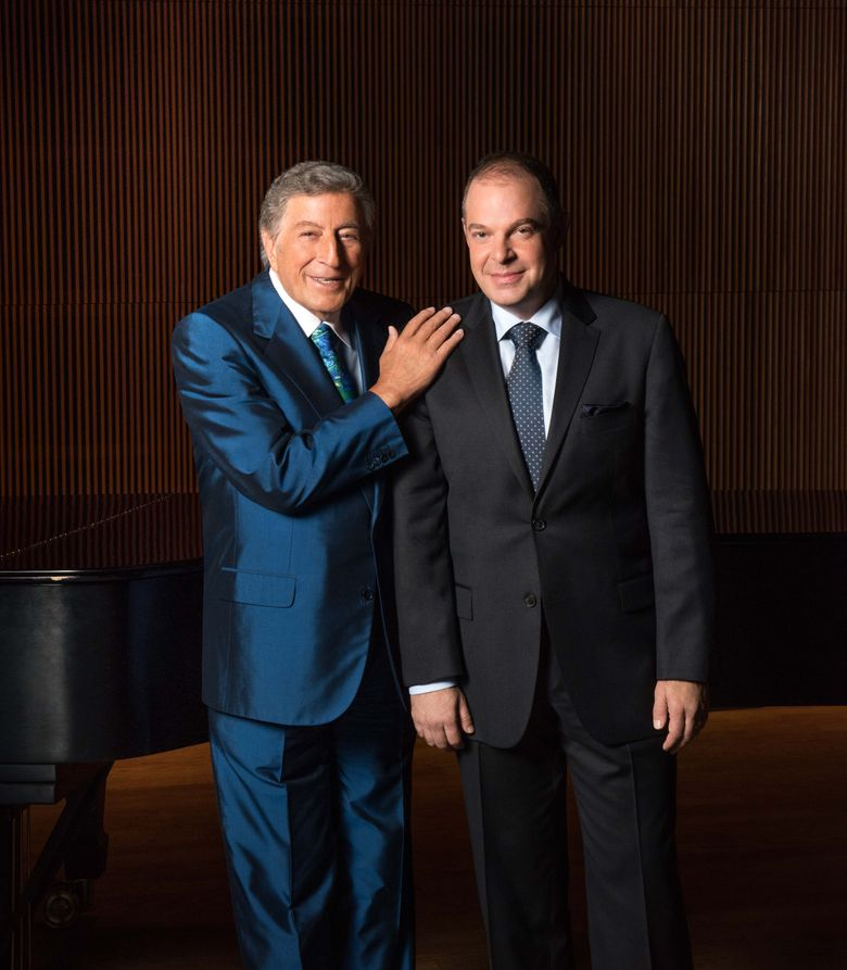 """This August 2015 photo released by Sony Music shows Tony Bennett, left, with pianist Bill Charlap in New York. Bennett is nominated for best traditional pop vocal album for """"The Silver Lining: The Songs of Jerome Kern.""""  (Kelsey Bennett/Sony Music via AP)"""