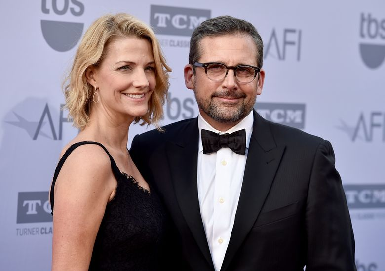 """FILE – In this June 4, 2015, file photo, Nancy Carell, left, and Steve Carell arrive at the 43rd AFI Lifetime Achievement Award Tribute Gala at the Dolby Theatre in Los Angeles. In the grandly silly tradition of """"Airplane!"""" and """"The Naked Gun"""" comes TV police show parody """"Angie Tribeca,"""" which started as a husband and wife's private joke. The clout-wielding couple in this case are movie and TV star Steve Carell (""""The Office,"""" """"The Big Short"""") and his wife, Nancy, formerly of """"The Daily Show."""" (Photo by Jordan Strauss/Invision/AP, File)"""