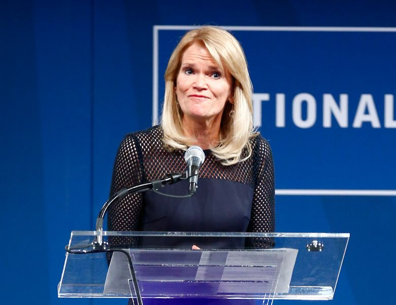 """FILE – In this Oct. 21, 2014 file photo, ABC News Chief Global Affairs Correspondent Martha Raddatz speaks during the Liberty Medal ceremony at the National Constitution Center in Philadelphia. ABC News is appointing Raddatz as co-anchor of the Sunday morning public affairs show """"This Week,"""" where she alternates hosting weeks with George Stephanopoulos. (AP Photo/Matt Rourke, File)"""
