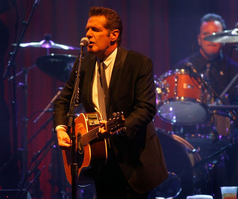 FILE – In this March 20, 2010 file photo, Glenn Frey of the Eagles performs at Muhammad Ali's Celebrity Fight Night XVI in Phoenix, Arizona. The Eagles said band founder Frey died Monday, Jan. 18, 2016, in New York after battling multiple ailments. He was 67. (AP Photo/Ralph Freso, File)