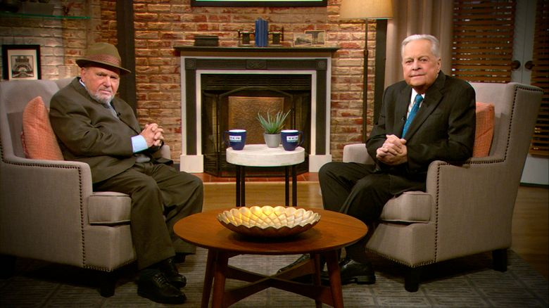 In this undated photo provided by Turner Classic Movies, veteran Hollywood publicist Dick Guttman, left, joins TCM host Robert Osborne as guest programmer on Monday, Jan. 11, 2016, to share his favorite movies. (Turner Classic Movies via AP)