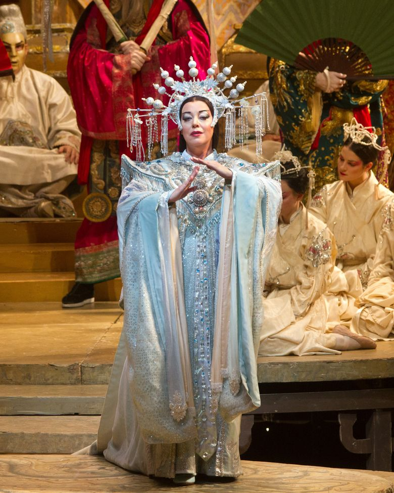 """This image released by the Metropolitan Opera shows Nina Stemme during a performance of """"Turandot."""" Her final performance Saturday, Jan. 30, 2016, will be broadcast into movie theaters as part of the Met's Live in HD program. (Marty Sohl/Metropolitan Opera via AP)"""