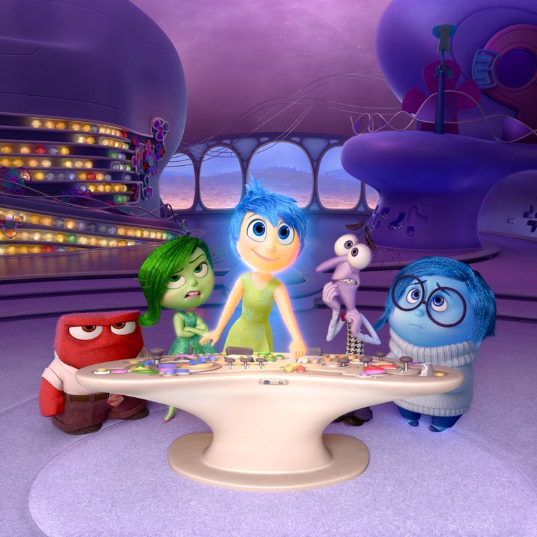 """In this image released by Disney-Pixar, characters, from left, Anger, voiced by Lewis Black, Disgust, voiced by Mindy Kaling, Joy, voiced by Amy Poehler, Fear, voiced by Bill Hader, and Sadness, voiced by Phyllis Smith appear in a scene from """"Inside Out."""" The film is nominated for an Oscar for best animated picture. The 88th annual Academy Awards will take place on Sunday, Feb. 28, 2016, at the Dolby Theatre in Los Angeles.  (Disney-Pixar via AP)"""