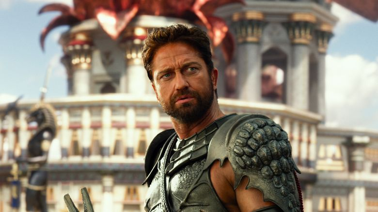 """Gerard Butler displays mighty musculature as the villain Set in """"Gods of Egypt."""""""