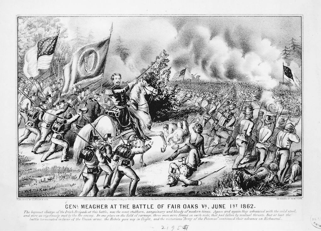 A battle sketch shows mustachioed Meagher on his horse and with his soldiers. This Currier & Ives print helped make the brigade famous when the Union was starved for heroes and positive war news.