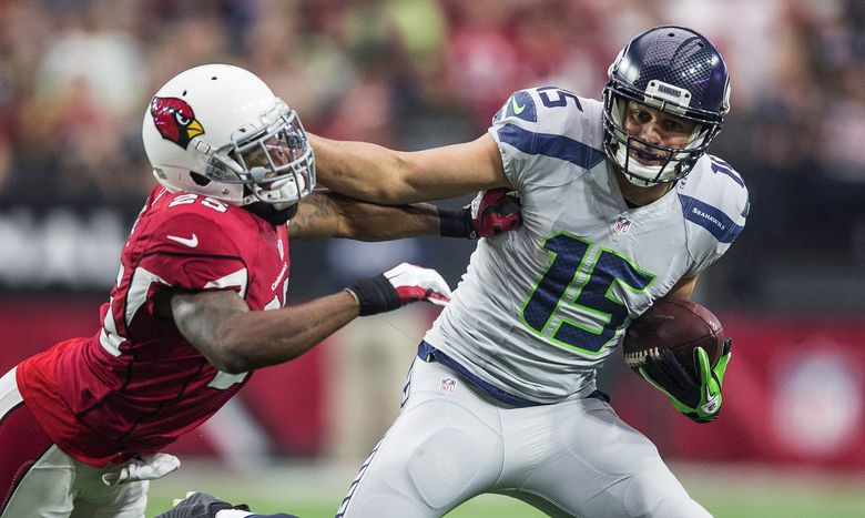 Arizona cornerback Jerraud Powers keeps Jermaine Kearse 1-yard short of a first down, on a 9-yard catch in the 1st quarter. The Seattle Seahawks played the Arizona Cardinals in the final regular game of the 2015-16 season Sunday, January 3, 2016 at University of Phoenix Stadium, in Glendale, AZ. (Dean Rutz/The Seattle Times)