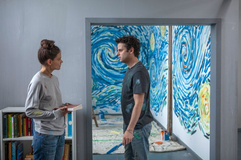 """Katie Holmes and Luke Kirby in Paul Dalio's """"Touched with Fire.""""  (Joey Kuhn)"""