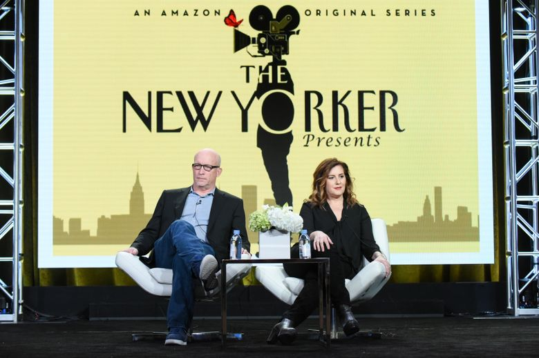 """FILE – In this Jan. 11, 2016 file photo, executive producers Alex Gibney, left, and Kahane Cooperman participate in """"The New Yorker Presents"""" panel at the The Amazon 2016 Winter TCA in Pasadena, Calif. The New Yorker regularly features a formidable mix of deeply-reported stories and profiles, fiction, slices of life, cultural coverage and cartoons. Makers of """"The New Yorker Presents"""" achieved the small miracle of capturing the magazine's rhythm and pioneering a """"60 Minutes""""-style newsmagazine with the work done by documentarians instead of news reporters. (Photo by Richard Shotwell/Invision/AP, File)"""