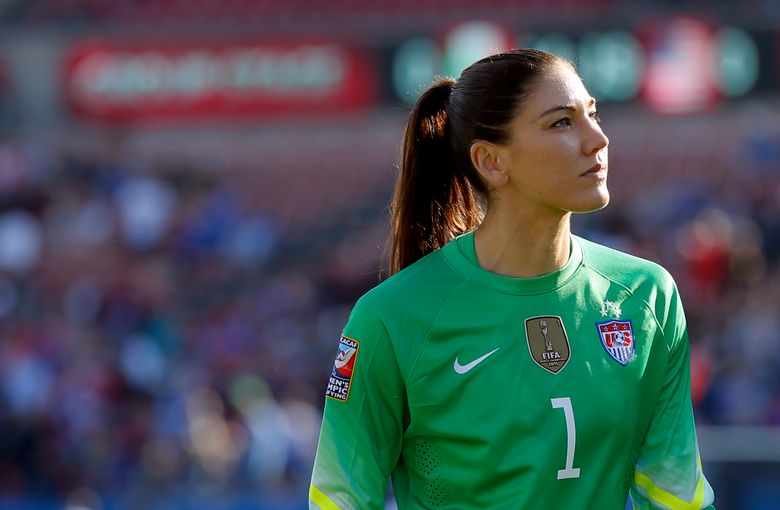 In this Feb. 13, 2016, file photo, United States goalie Hope Solo walks off the field at half time of a CONCACAF Olympic qualifying tournament soccer match against Mexico in Frisco, Texas.  (AP Photo/Tony Gutierrez, File)