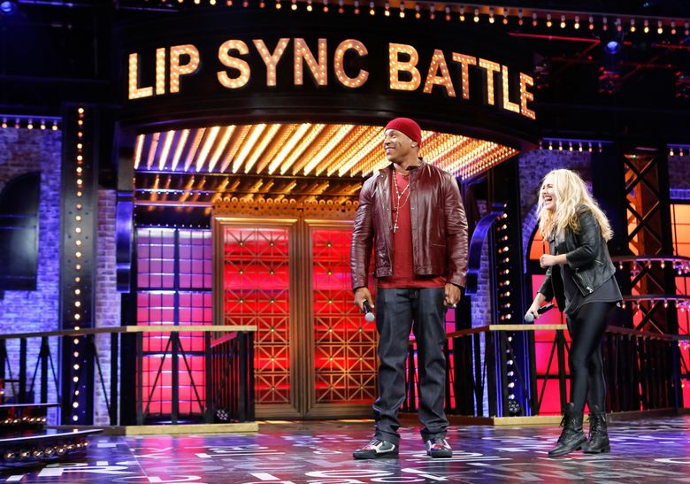 """In this image released by Spike TV, host LL Cool J, left, and Hayden Panettiere appear on the set of """"Lip Sync Battle,"""" on Spike TV. The Spike network, which airs """"Lip Sync Battle,"""" is joining with Nickelodeon for a special """"Lip Sync Battle Jr."""" show that will feature young people miming some of their favorite songs. The special will be broadcast on both networks later this year. (AP Photo/Spike TV)"""