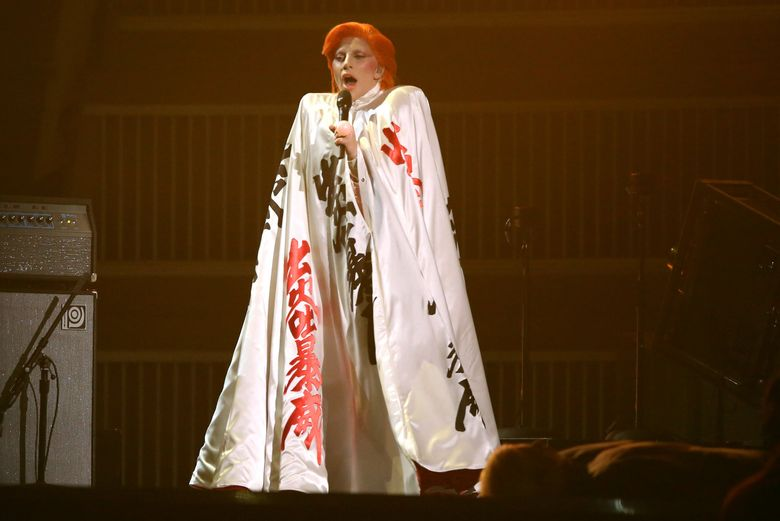 Lady Gaga performs a tribute to David Bowie at the 58th annual Grammy Awards on Monday.  (Matt Sayles/Matt Sayles/Invision/AP)