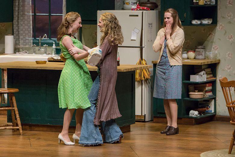 "From left, Sydney Andrews (Babe), Brenda Joyner (Meg), and Rhonda J. Soikowski (Lenny) share a scene in ""Crimes of the Heart"" at Village Theatre. (Tracy Martin)"