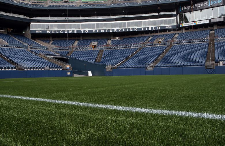 A field-level view of the new FieldTurf installation at CenturyLink Field. (Photo courtesy of Sounders FC).